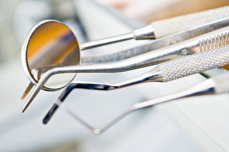 dentists instruments with shallow depth of field Stock Photo