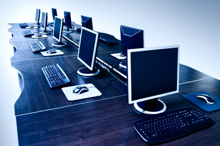 computer training: modern computers with LCD screens Stock Photo