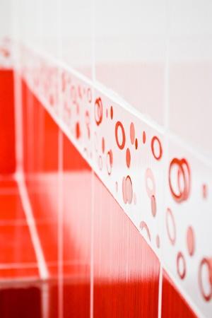 modern red ceramic tile for bathroom wall Stock Photo - 9786624