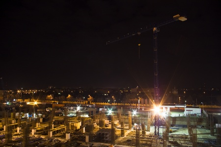 construction site with crane at night Stock Photo - 9786776