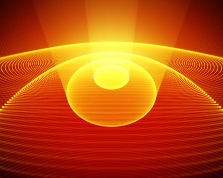 abstract rays and spheres on red background photo