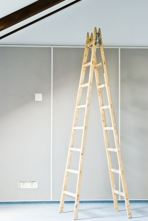 construction interior with ladder and wall photo