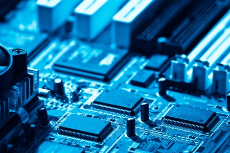 high technology computer circuit close-up blue toned Stock Photo - 9908674