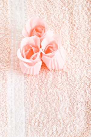 pink soap flowers on towel Stock Photo - 9914287