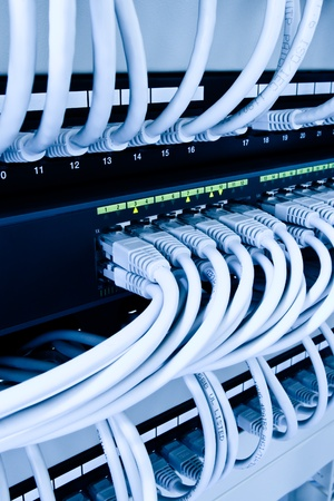network cables and hub in data center