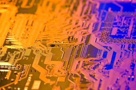 electronic circuit: high technology background with electronic circuit board Stock Photo