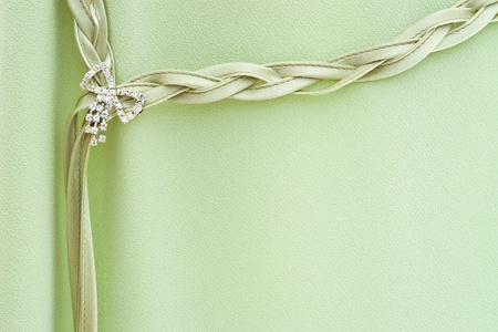 broach: shiny broach on green dress