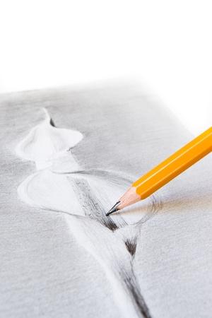 sharp pencil on hand-drawn cala flower photo