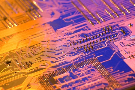 high technology background with electronic PCB photo