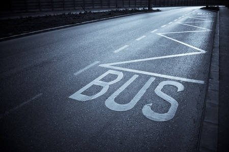 bus station: bus station with road markings Stock Photo