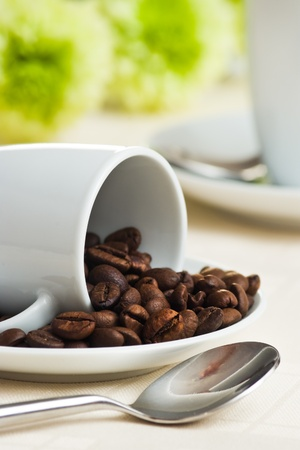 cup of coffee on saucer  with beans and green flower photo