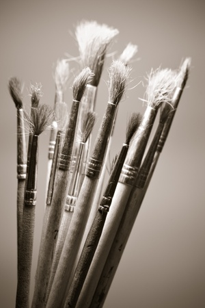 paintbrush photography black and white. old paintbrushes in warm black and white photo paintbrush photography