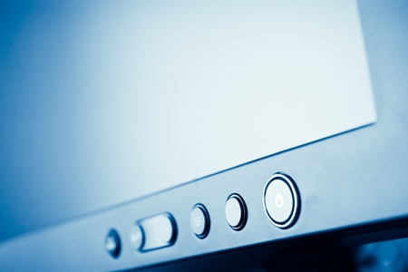 lcd monitor: LCD display with shallow depth of field - blue toned Stock Photo