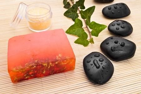 black massage stones sea-salt and soap Stock Photo - 11404137