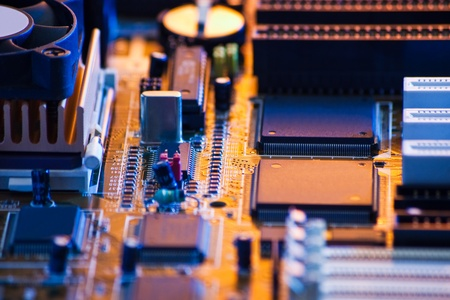 pcb: computer board with shallow depth of field