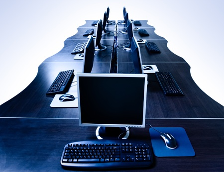 modern computers in IT office isolated