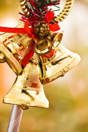 christmas golden bell decoration with shallow depth of field Stock Photo - 12826859