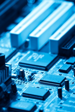closeup of computer electronics blue toned