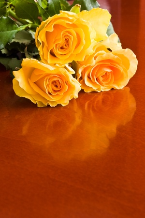 yellow roses on wood table with reflection photo
