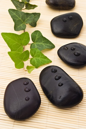 black stones and ivy on bamboo board photo