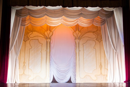 classic scenography with curtains in old theater Stock Photo