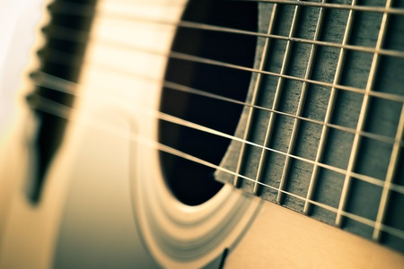 closeup of strings on acoustic guitar with shallow depth of field photo