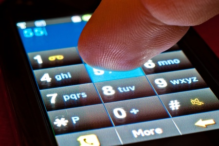 dialing: finger dialing on touch screen smartphone