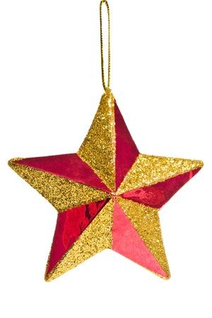 estrellas de navidad: Decoración de Navidad estrellas rojas sobre fondo blanco Foto de archivo