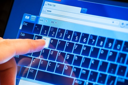 typing www on touch screen virtual keyboard Stock Photo - 13545684