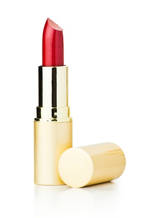 bright lipstick: red lipstick isolated with clipping path on white background