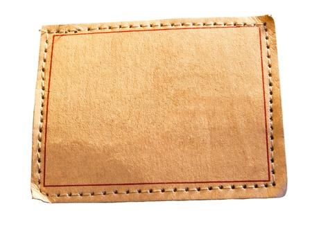 denim empty leather label isolated photo