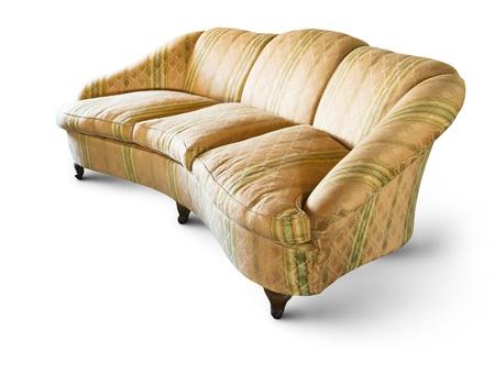 muebles antiguos: elegante sofá de época aislados y sombra en blanco