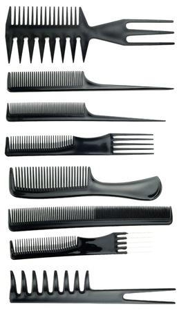plastic comb: professional black comb set on white background