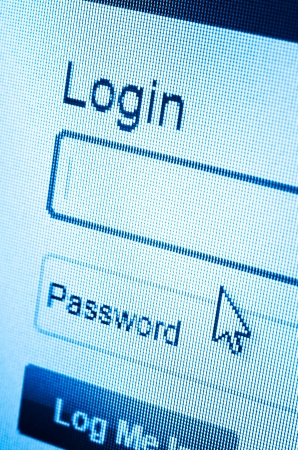 macro of Login and password on computer screen photo