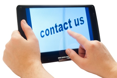 words contact us on tablet computer Stock Photo - 14248915