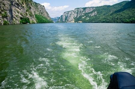 riverine: Danube river with rocks scenery from motor boat