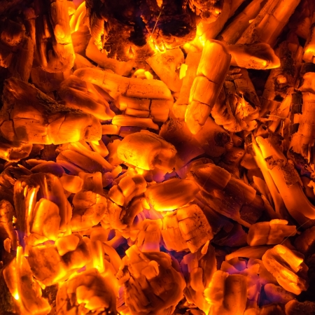 embers: coal and firewoods burning for fire background