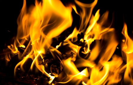 coals: firewoods burning for fire background Stock Photo