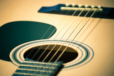 closeup of classic guitar with shallow depth of field photo