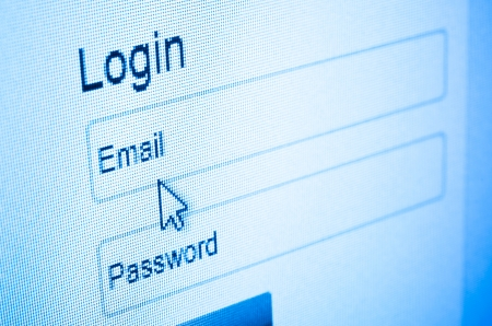 login: Login with email and password on computer screen