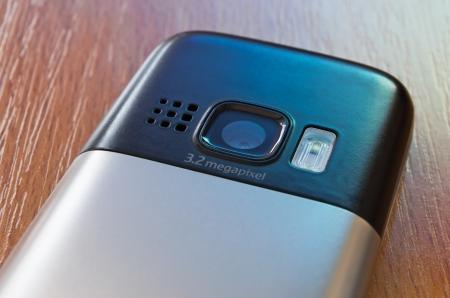 mega phone: closeup of mobile phone back with camera Stock Photo