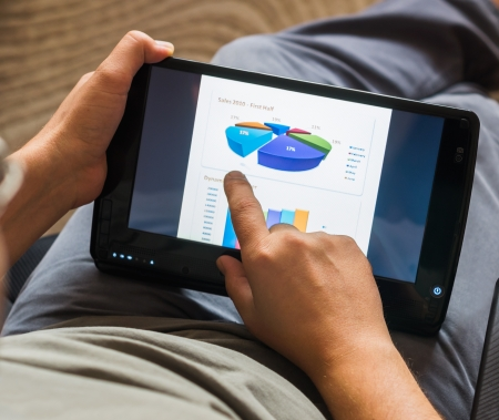 financially: sales chart on tablet-pc with touchscreen