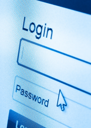 macro shot of Login and password on computer screen photo