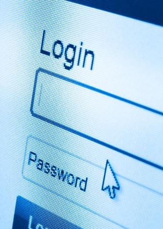 computer security: macro shot of Login and password on computer screen
