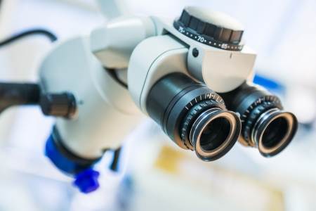 eyepiece: closeup of medical microscope with shallow depth of field Stock Photo