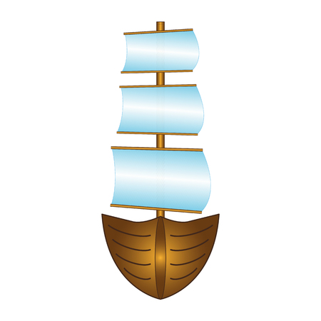 Fishing boat with sails
