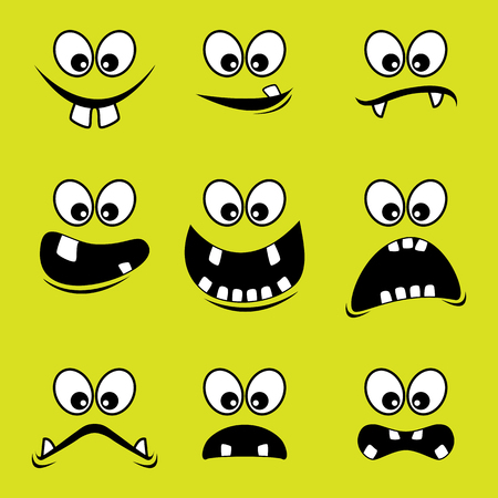 Faces of monsters on a green background - Vector design EPS10