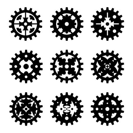 De machinetandrad van het wieltoestel op een witte achtergrond geïsoleerde vectorillustratie wordt geplaatst die.