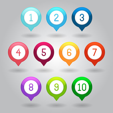 Map markers with numbers - vector illustration isolated on gray background eps10