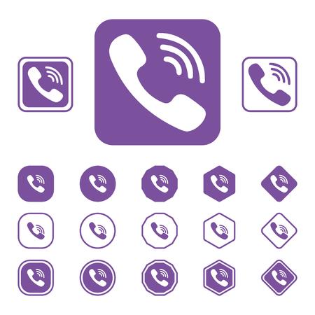 L'insieme dell'icona piana di Viber su un fondo bianco ha isolato l'illustrazione eps10 di vettore